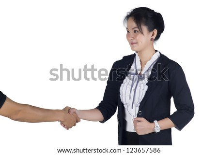 Business woman shake hand with her client, isolated on white background, Model is Asian woman. - stock photo