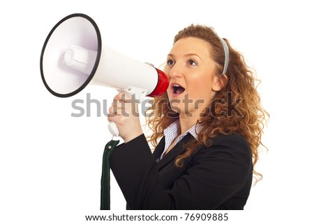 Business woman shouting into loudspeaker and standing in semi profile isolated on white background