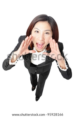 Business Woman Shouting - Isolated over a White Background, funny shot from high view, model is a asian beauty - stock photo