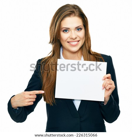 Business woman show board, banner with copy space.finger pointing. smiling woman with long hair. white background isolated. - stock photo