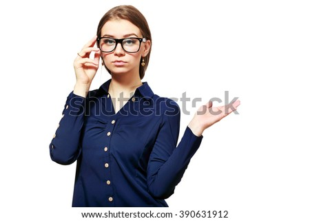 Business woman show something on copyspace with her hand. - stock photo