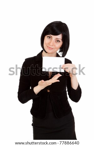 Business woman showing a business card