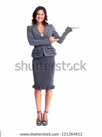 Business woman showing a copyspace isolated on white background - stock photo