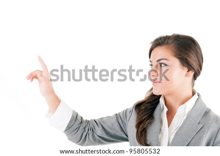 Business woman showing blank area for sign or copyspase, isolated on white background - stock photo
