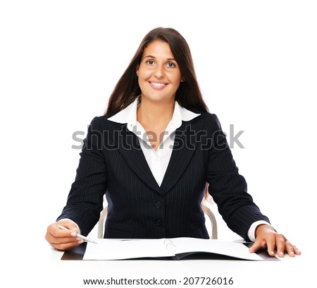 Business woman showing blank notebook copy space with pen.   Isolated on a white background.