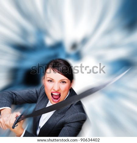 Business woman showing determination while holding a sword - stock photo
