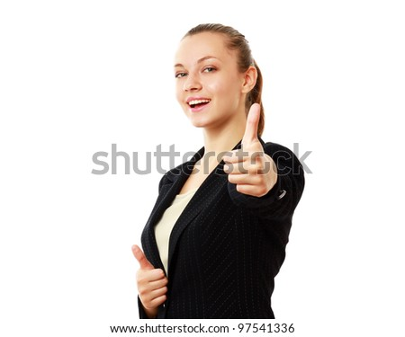 Business woman showing thumb up, isolated on white background. - stock photo