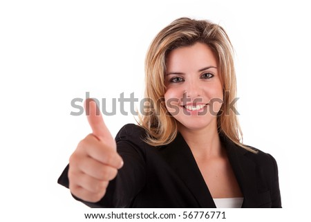 Business woman showing thumb up, isolated over white - stock photo