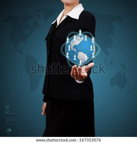 Business woman showing virtual global communication. Concept of Social Media Marketing - stock photo