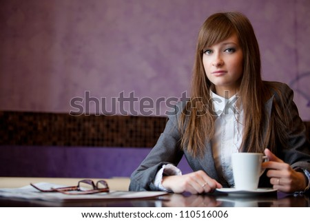 business woman sit in cafe - stock photo