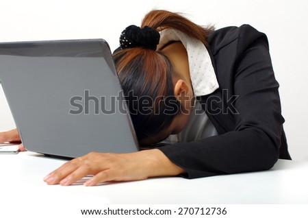 business woman sleeping knockout at the office - stock photo