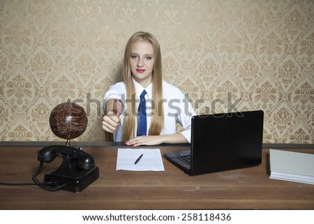 business woman smiling, thumbs up - stock photo