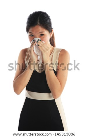 Business Woman Sneezing with a Bad Flu - stock photo
