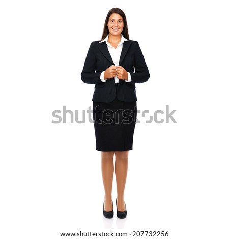 Business woman standing full length smiling cheerful. Isolated on white background.   - stock photo