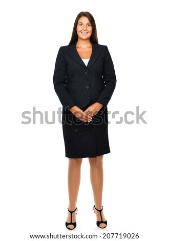 Business woman standing full length with empty copy space.   Isolated on a white background.  - stock photo
