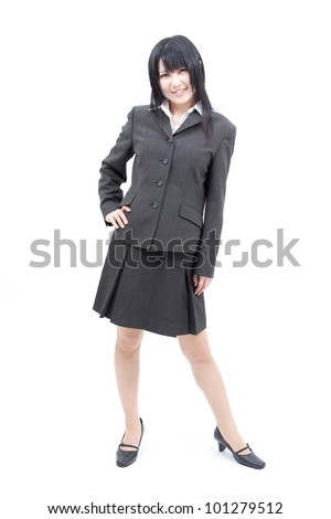 business woman standing in full body isolated on white background - stock photo