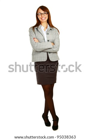 Business woman standing in full length isolated on white background . - stock photo