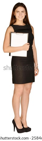 Business woman standing sideways and holding in hand clipboard - stock photo