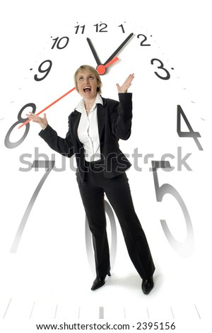 business woman standing with clock in background concept - stock photo