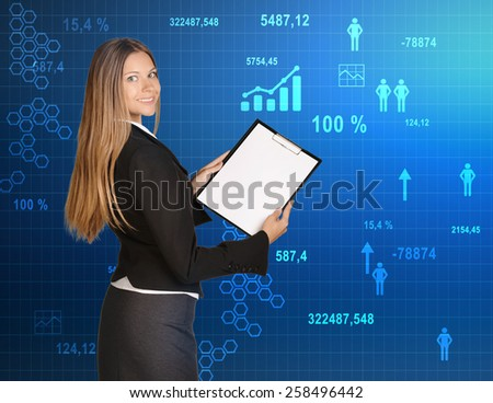 Business woman standing with paper holder on the background graphics and icons. - stock photo