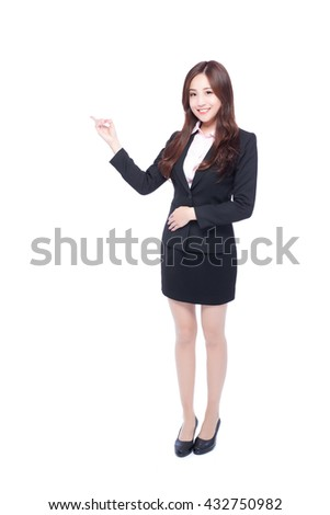 business woman stands in full length,pointing something,asia beauty