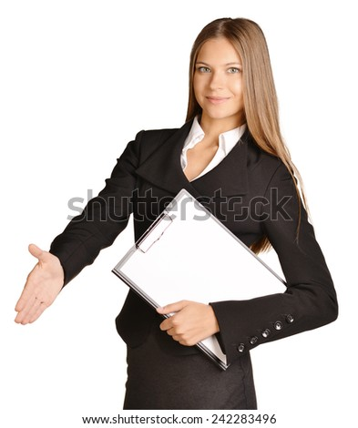 Business woman stretches out a hand of greeting. holds clipboard