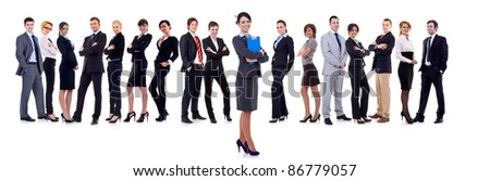 business woman student leading a team - isolated over a white background