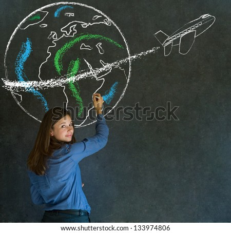 Business woman, student or teacher with chalk globe and jet world travel blackboard background - stock photo