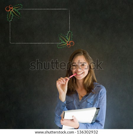 Business woman, student or teacher with Christmas holly to do checklist on blackboard background - stock photo