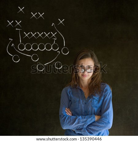 Business woman, student, teacher or coach American football strategy on blackboard background - stock photo