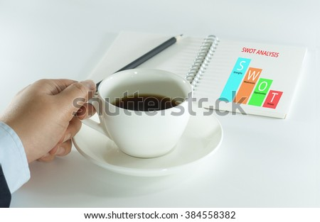Business Woman Take a Break with Coffee, SWOT Analysis