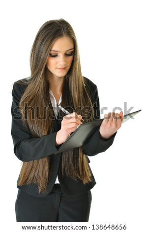 Business Woman Taking Notes - stock photo