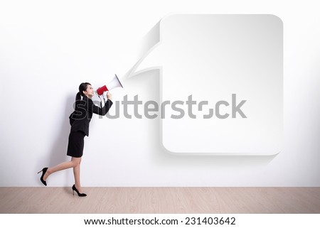 business woman talking in megaphone with bubble speech, great for your design or text, asian - stock photo