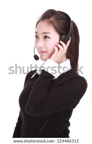 Business woman talking on headset - stock photo
