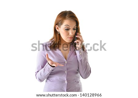 Business woman talking on the phone gesturing with a concerned look - stock photo