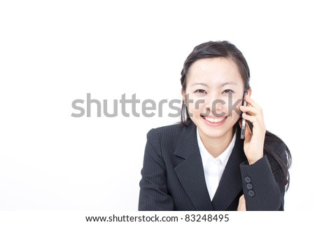 Business woman talking on the phone isolated over a white background