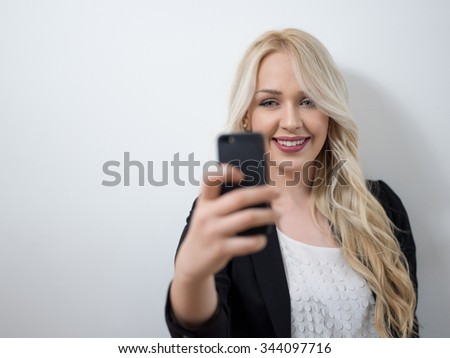 Business woman talking on the phone - isolated over white - stock photo