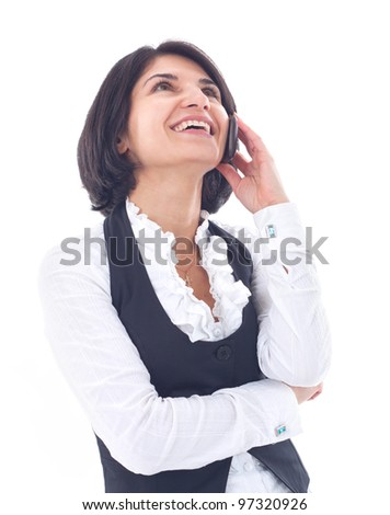 business woman talking on the phone on white background - stock photo