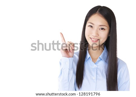 Business woman that raised the index finger - stock photo
