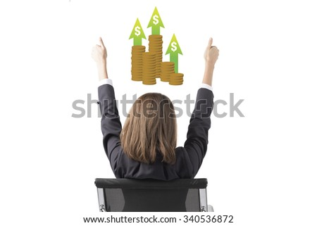 Business Woman Thinking About Making More Money - stock photo