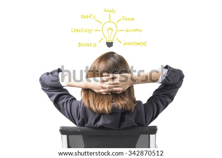 Business Woman Thinking With new idea - stock photo