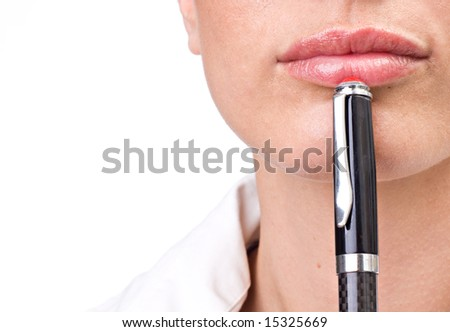 Business woman thinking with pen over white