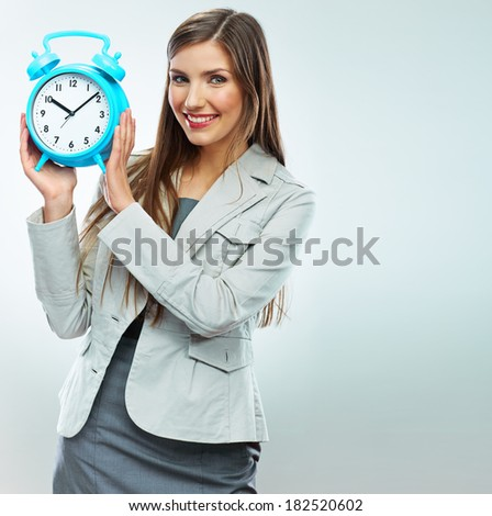 Business woman time concept portrait. White background isolated. - stock photo