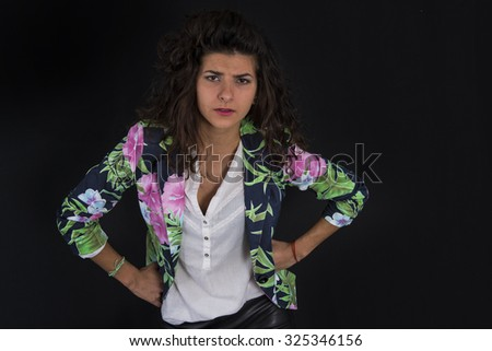 Business woman tired or having a problem at work - stock photo