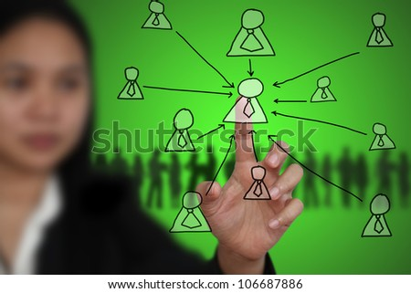 Business Woman touch on Key Person - stock photo
