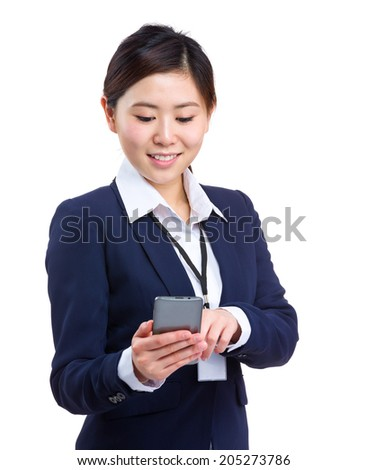 Business woman touch on mobile phone