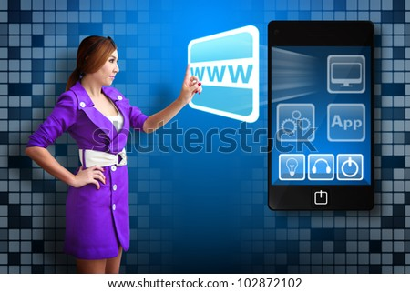 Business woman touch on WWW icon from Smart phone - stock photo