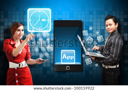Business woman touch the Time icon from mobile phone - stock photo