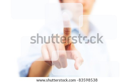 Business woman touching on touch screen icon - stock photo