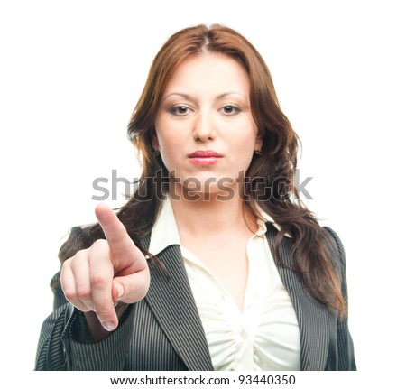 business woman touching the screen with her finger - stock photo
